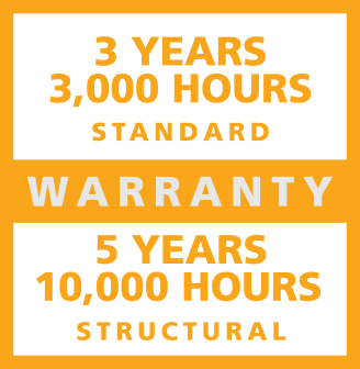 3 Years 3,000 standard 5 years 10,000 hours structural warranty
